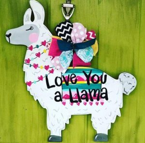 Love You a Llama Valentine's Day Painted Door Hanger by Southern ADOORnments
