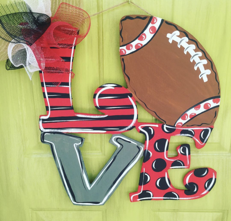 Love Football Sports Ball Painted Door Hanger by Southern ADOORnments