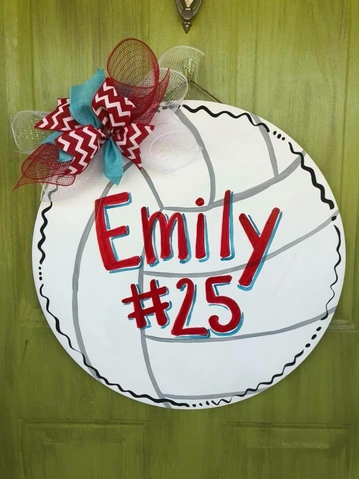 Volleyball Sports Custom Painted Door Hanger by Southern ADOORnments