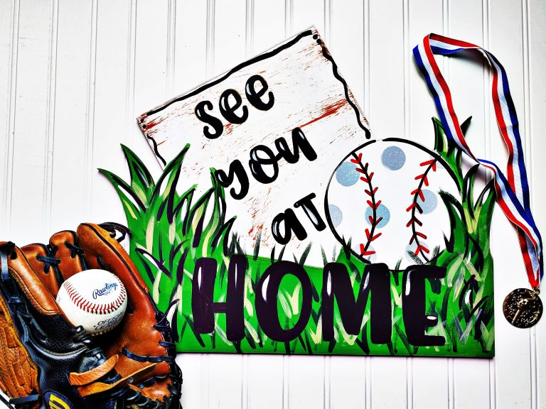 """See You at Home"" Baseball Door Hanger"