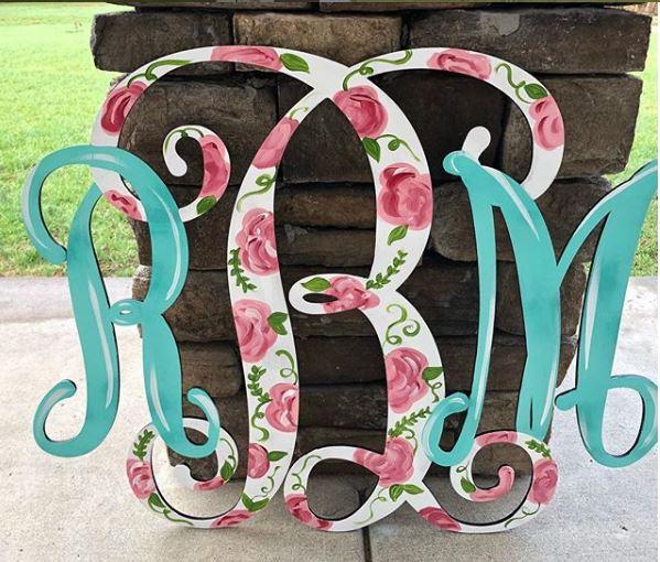 Monogram - Floral 2 - Wooden Door Hanger - Southern Adoorn-ments - Tamara Bennett