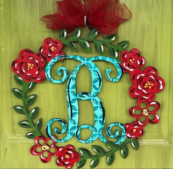 Monogram - Wooden Door Hanger - Floral Wreath - Southern Adoorn-ments - Tamara Bennett