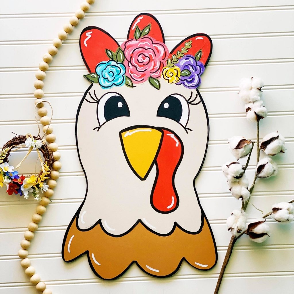 Painted Chicken Hen Door Hanger Flowers of Floral Farm Animals by Southern ADOORnments