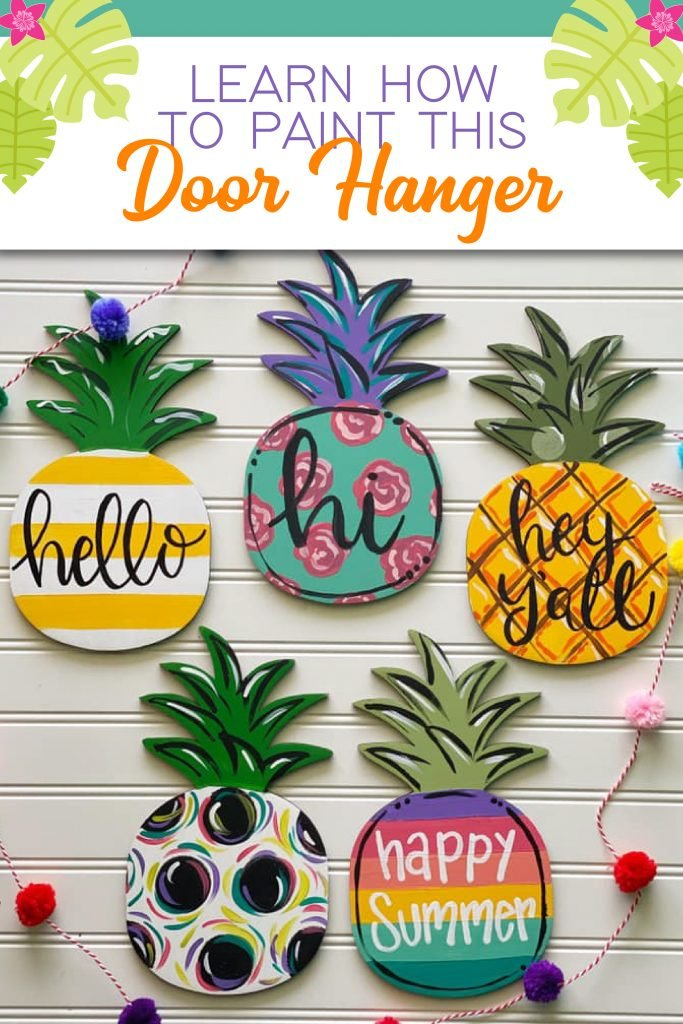 Pineapple Painted Door Hanger DIY Ideas for Summer by Southern ADOORnments
