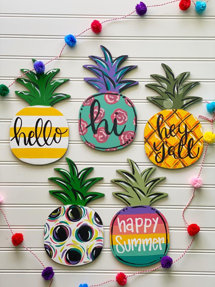 Pineapple Door Hangers Three Ways