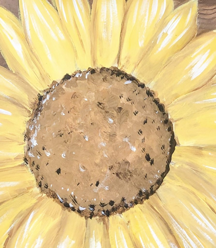 Details of Painted Sunflower Farmhouse Wooden Door Hanger by Southern A-DOOR-nments