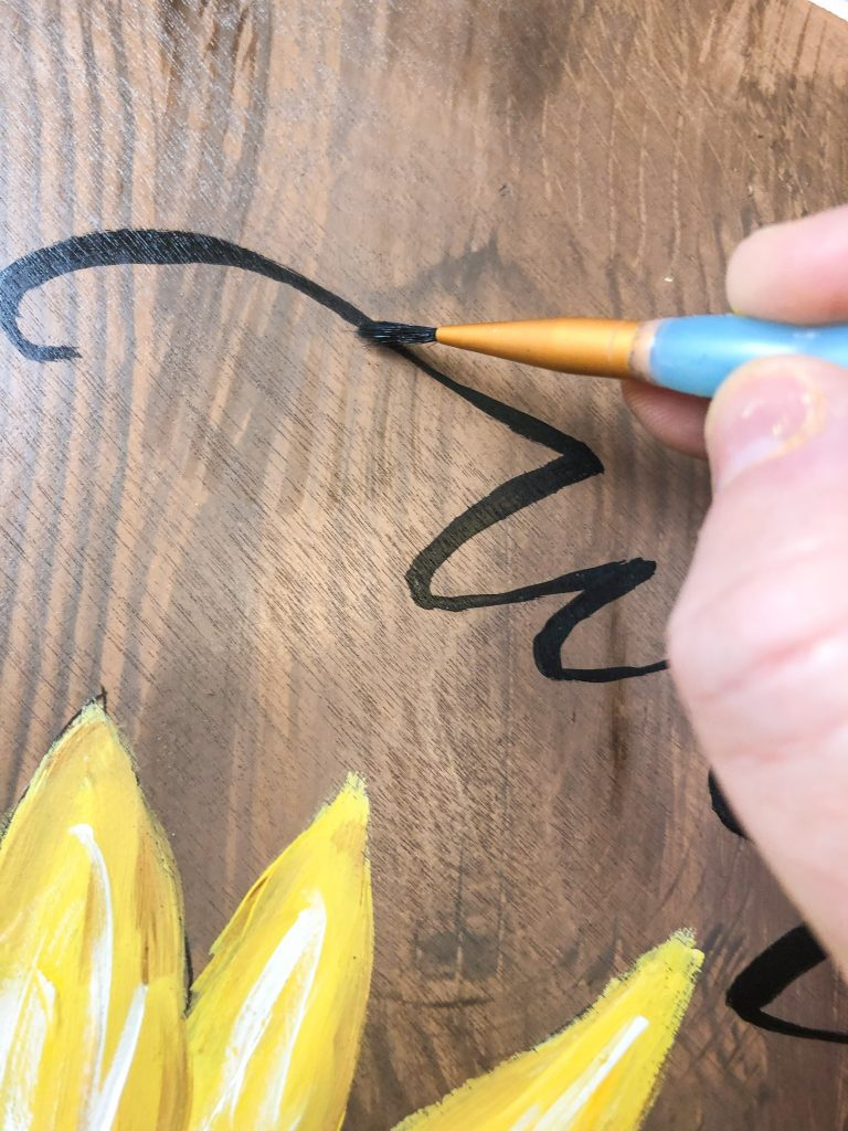 Hand Lettering Painted Wood Sunflower Sign Door Hanger by Southern A-DOOR-nments