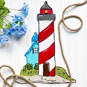 Learn How to Paint this Lighthouse Summer Door Hanger by Southern A-DOOR-nments