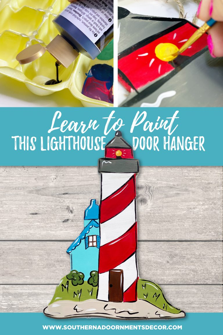 Learn to Paint Lighthouse Painted Wood Door Hanger for Summer by Southern A-DOOR-nments