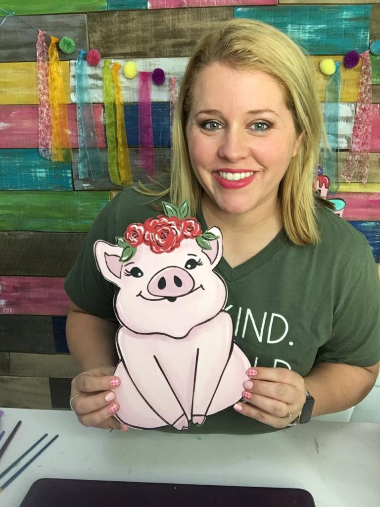 Cute Floral Pig Door Hanger