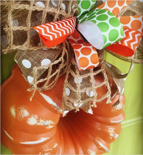 Pumpkin Orange and Green Fall Bundt Pan Wreath for Autumn by Southern ADOORnments