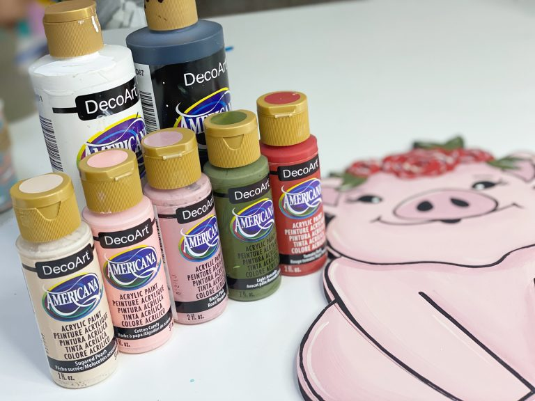 cute floral pig door hanger deco art americana paints
