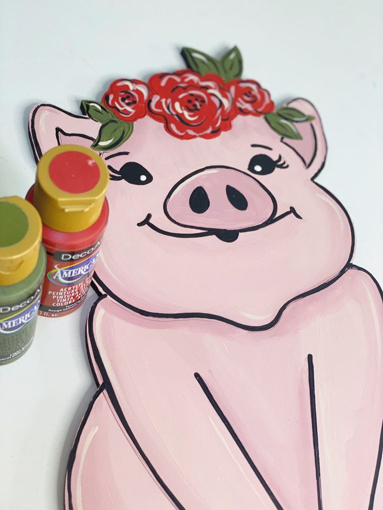 cute floral pig door hanger - southern adoor-nments - art deco americana red and green paints