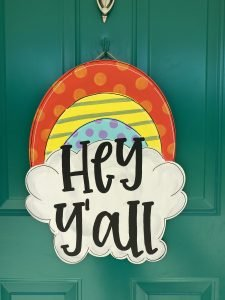 Funky Rainbow Door Hanger by Southern A-Door-nments Decor Finished