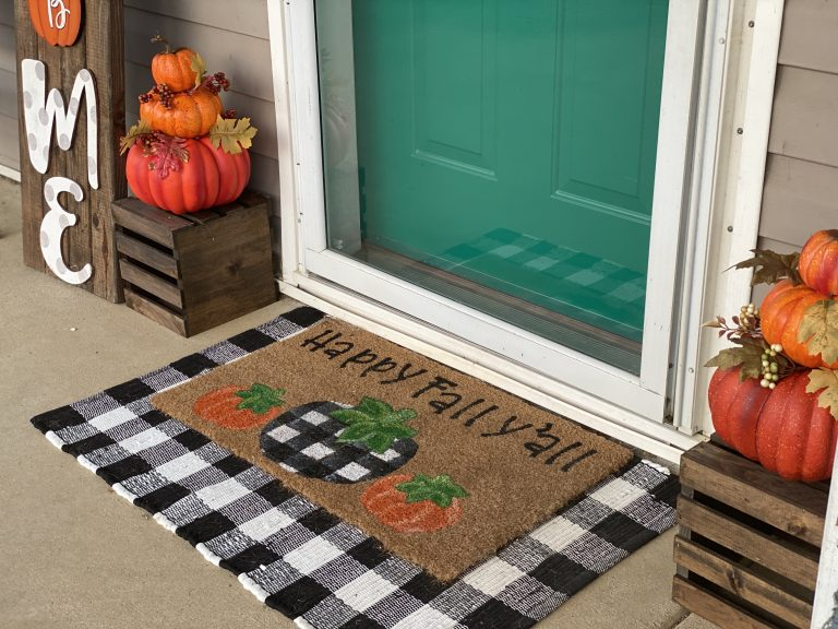 Happy Fall Y'all layered welcome mat - buffalo plaid and pumpkins porch decor by southern a-door-nments