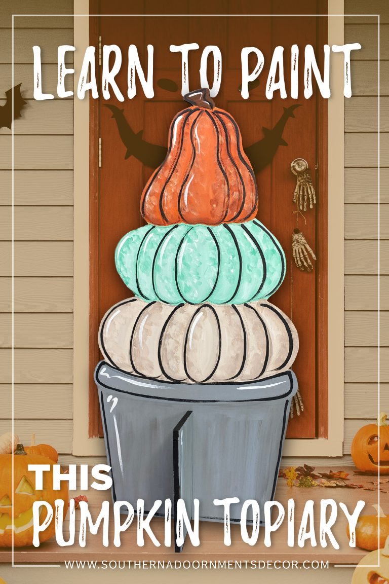 Pumpkin Topiary Fall Porch Sitter for Autumn Decor by Southern A-DOOR-nments