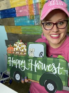 Green Truck Door Hanger Painted by Tamara Bennett