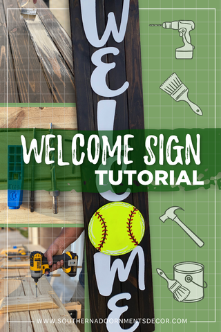 How to Build a DIY Welcome Sign Porch Leaner from Southern A-DOOR-nments