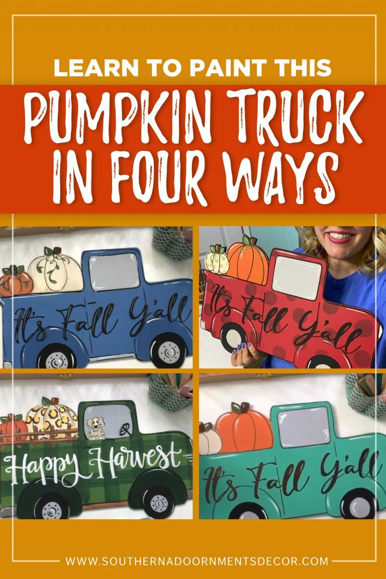 Vintage Pumpkin Pick-Up Truck Door Hanger - Buffalo Plaid Polka Dot and Blue by Southern A-DOOR-nments