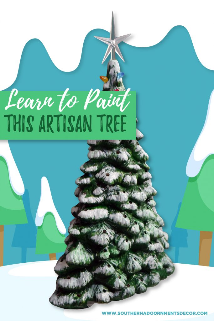 DIY Holiday Vintage Painted Ceramic Christmas Tree with Lights by Southern A-DOOR-nments