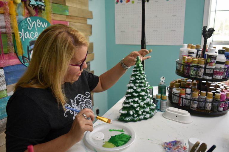 Painting a Ceramic Christmas Tree by Tamara Bennett