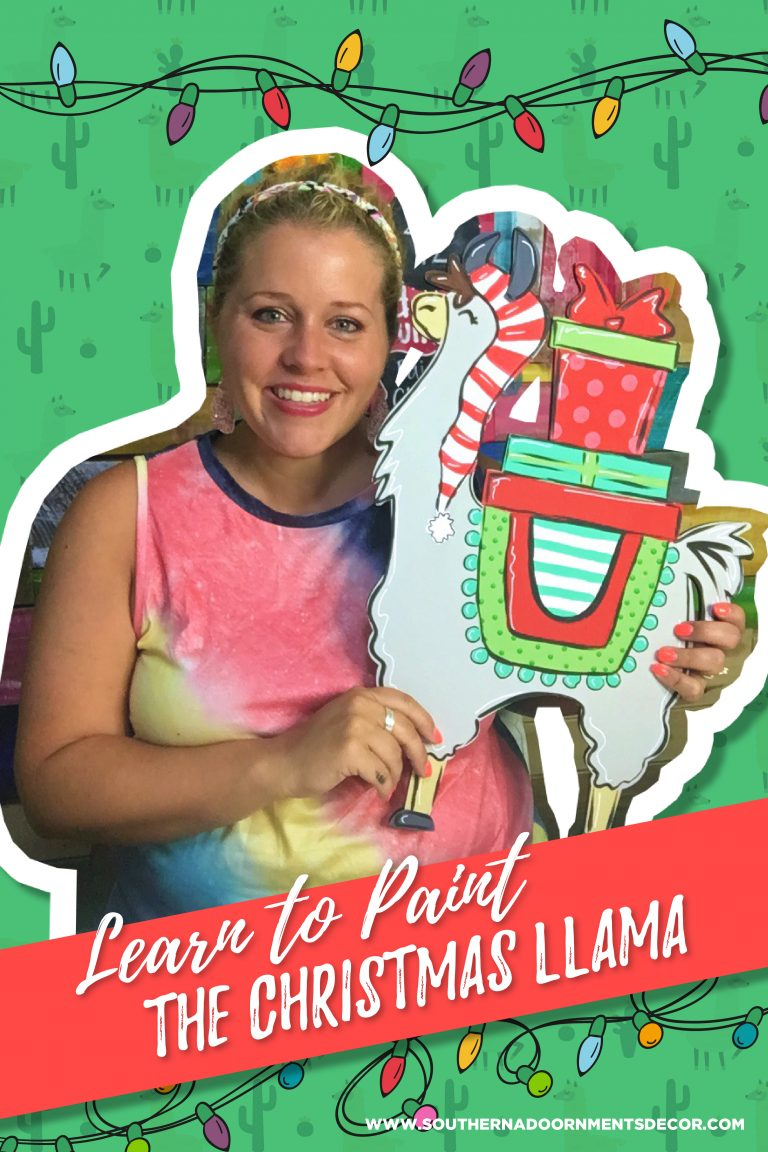 Christmas Llama DIY Painted Door Hanger - Holiday Porch Decor by Southern A-DOOR-nments